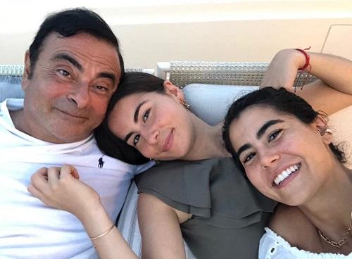 Carlos Ghosn và hai con gái là Maya (ở giữa) và Nadine (bên phải)..
