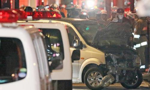 Hiện trường vụ lao xe đêm giao thừa tại phố Takeshita. Ảnh: AFP.