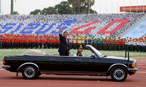 Thủ tướng Campuchia Hun Sen trong lễ kỷ niệm tại Phnom Penh. Ảnh: AFP.