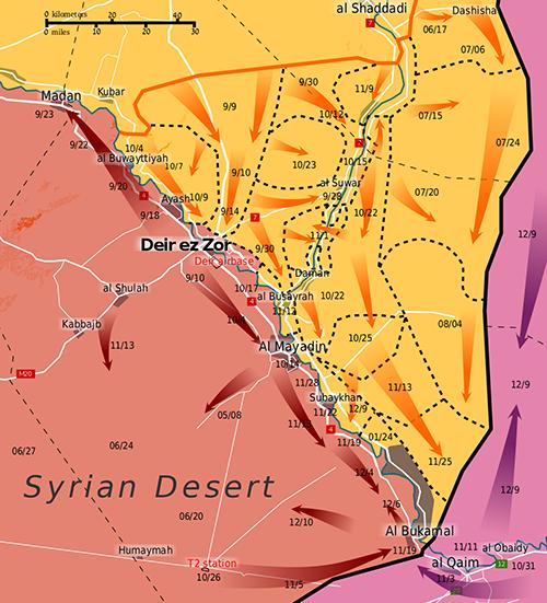 Bản đồ vùng kiểm soát của quân đội chính phủ Syria (màu đỏ), lực lượng dân quân SDF (màu vàng) và phiến quân IS (màu xám). Ảnh: Wikimedia.