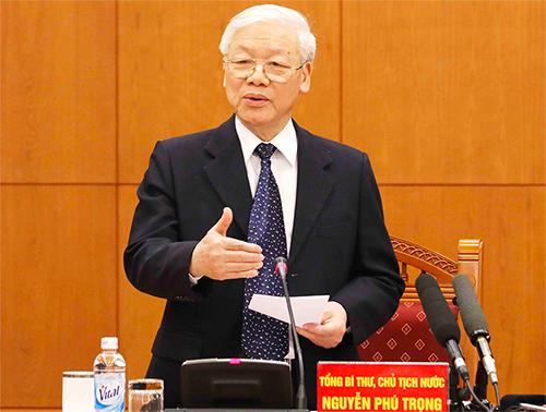Ông Nguyễn Phú Trọng: Quân đội đãtham mưu để Trung ương, Bộ Chính trị, Ban Bí thư ban hành các chiến lược quốc phòng.Ảnh: Vietnam+
