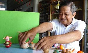 Thầy giáo chế tác linh vật Kỷ Hợi từ vỏ trứng ở Sài Gòn