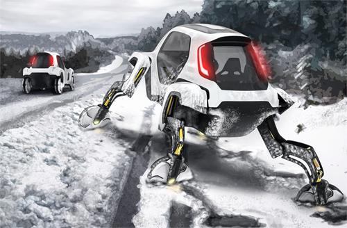 Trong một kịch bản, Elevate bị lún tuyết nhưng nhờ 4 chân, xe có thể tự thoát thân với khả năng leo tường, vượt rãnh sâu.