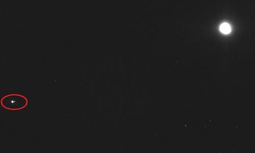 Trái Đất giống một chấm sáng nhỏ trong bức ảnh chụp từ khoảng cách 110 triệu km. Ảnh: NASA.