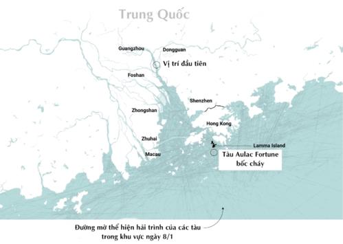 Nhiều tàu thuyền di chuyển ở ngoài khơi Hong Kong. Đồ họa: SCMP.