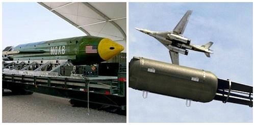 Mẹ của các loại bom GBU-4 của Mỹ (trái)và mô hìnhCha của các loại bom của quân đội Nga. Ảnh: Military.