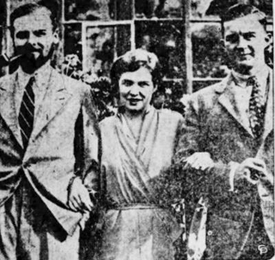 Tinko (giữa) và Corkran (trái) cùng chồng mình, Kenneth. Ảnh: Kingsport Times.