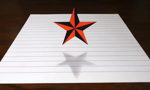 Vẽ ngôi sao 3D bay lên khỏi mặt giấy