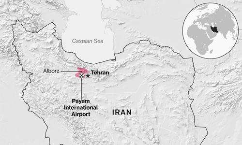 Máy bay gặp nạn ở tỉnh Alborz, phía tây thủ đô Tehran của Iran. Ảnh: Bloomberg.