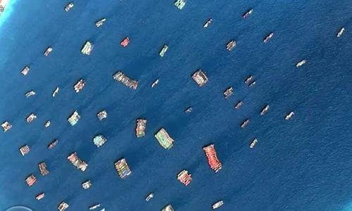 Ảnh vệ tinh cho thấy tàu cá Trung Quốc tại Đá Xubi ở Trường Sa tháng 8/2018. Ảnh: ATMI.
