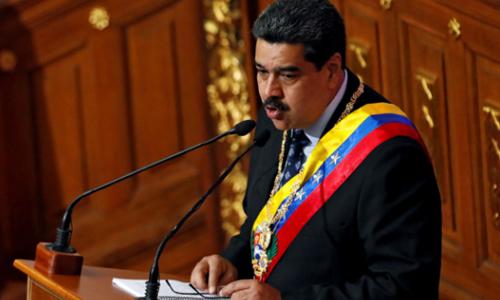 Tổng thống Maduro phát biểu trong phiên họp đặc biệt của Quốc hội lập hiến Venezuela, hôm 14/1 tại thủ đô Caracas. Ảnh: Reuters.