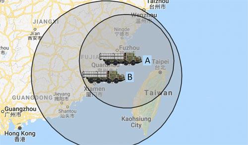 Tầm bắn của tên lửa S-400 ở duyên hải Trung Quốc khi được trang bị đạn có tầm bắn 250 km (A) và 400 km (B). Đồ họa: MilitaryWatch.