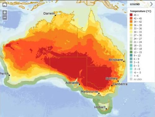 Những nơi có nhiệt độ cao kỷ lục tại Australia hôm 15/1. Ảnh: Cục Khí tượng Australia.