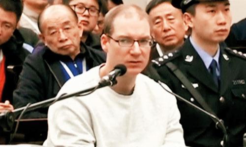 Công dân Canada Robert Schellenberg tại phiên xửhôm 14/1 ở thành phố Đại Liên, tỉnh Liêu Ninh, Trung Quốc. Ảnh: CCTV.