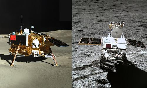 Tàu Hằng Nga 4 (trái) và xe tự hành Thỏ Ngọc 2 (phải) trên Mặt Trăng. Ảnh: Space.