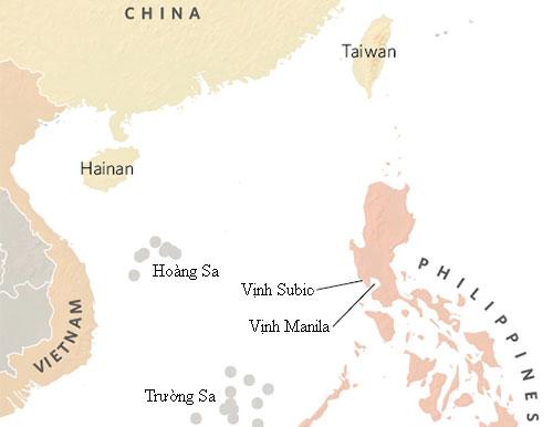 Vị trí vịnh Subic. Ảnh: Globalbalita.