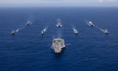 Nhóm tác chiến tàu sân bay Ronald Reagan trên Thái Bình Dương cuối năm 2018. Ảnh: US Navy.