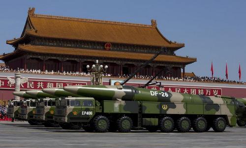 Tên lửa đạn đạo diệt hạm DF-26 Trung Quốc trong một cuộc duyệt binh. Ảnh: Reuters.