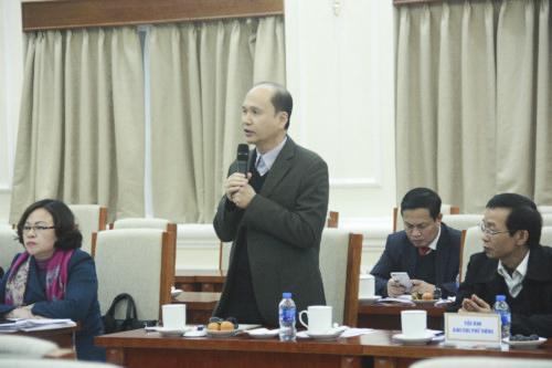 Thành viên Hội đồng quốc gia Giáo dục và Phát triển nhân lực góp ý dự thảo Luật Giáo dục sửa đổi vàochiều 17/1. Ảnh: Giáo dục thời đại