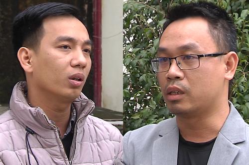 Bị can Cường (bên trái) và Vinh. Ảnh: Nguyễn Hải.
