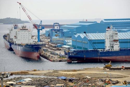 Nhà máy đóng tàu Hanjin nằm trên vịnh Subic, Philippines. Ảnh: AFP.