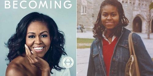 Bên trái là bìa cuốn hồi ký và bên phải là bà Obama trong những năm tháng sinh viên ở Đại học Princeton. Ảnh: Crown Publishing