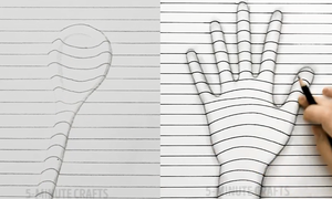 Cách vẽ bàn tay và cái thìa nổi trên mặt giấy