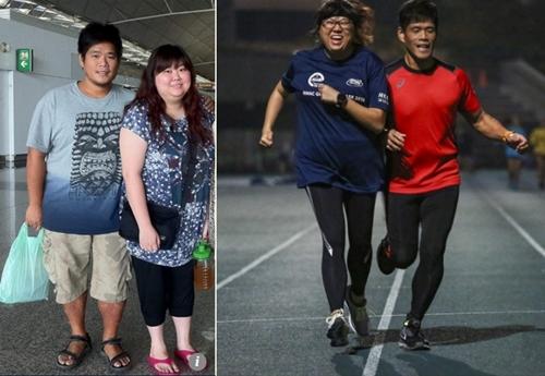 Tsang và Choi trước khi giảm cân (trái) và hiện nay (phải). Ảnh: SCMP.