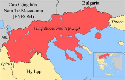 Khu vực phía bắc Hy Lạp có tên gọi là Macedonia, giáp biên giới với Cộng hòa Macedonia. Đồ họa: Wiki.