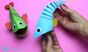 Cách cắt giấy thành hình con cá quẫy đuôi