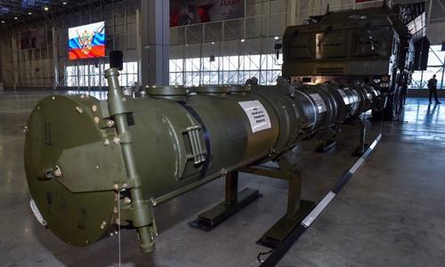 Tên lửa Novator 9M729 được trưng bày ở công viên quân sự bên ngoài Moskva ngày 23/1. Ảnh: AFP.