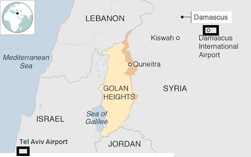 Vị trí sân bay quốc tế Damascus và sân bay quốc tế Tel Aviv. Đồ họa: BBC.
