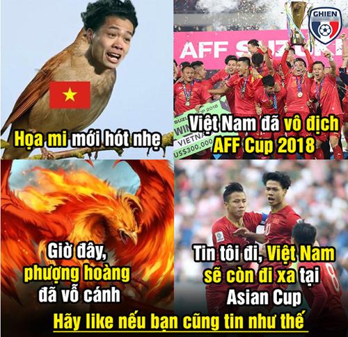Thứ hai: Chỉ có họa mi thôi đã vô địch AFF Cup, nay có Phượng Hoàng thì Asian Cup sẽ tiến xa hơn.