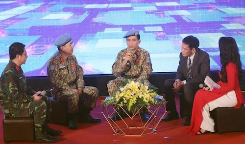 Đại tá Hoàng Kim Phụng, Cục trưởng Gìn giữ Hoà bình Việt Nam thông tin kết quả Việt Nam tham gia gìn giữ hoà bình Liên Hợp Quốc. Ảnh: HT