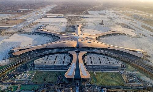 Sân bay quốc tế Bắc Kinh, Đại Hưng nhìn từ trên cao. Ảnh: Xinhua.