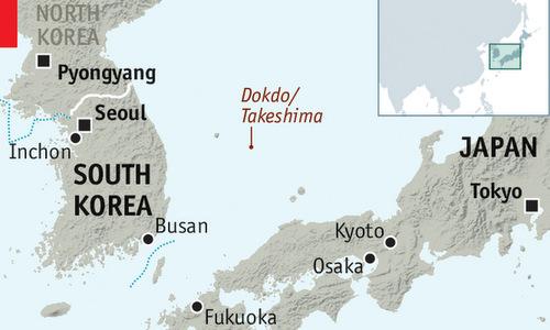 Vị trí chuỗi đảo tranh chấp Dokdo/Takeshima giữa Hàn Quốc và Nhật. Đồ họa: Economist.