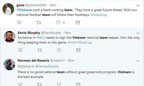 Các bình luận trên Twitter về màn trình diễn của đội tuyển Việt Nam. Ảnh chụp màn hình.