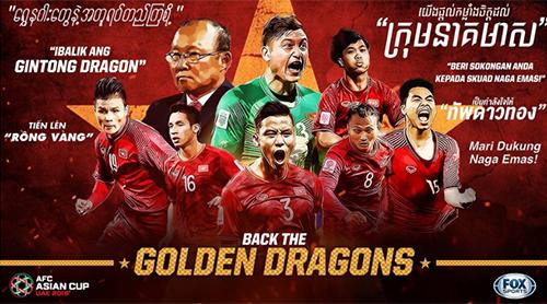 Poster cổ động cho đội tuyển Việt Nam của Liên đoàn Bóng đá châu Á (AFC) với những lời chúc bằng ngôn ngữ của các quốc gia kháctrong Đông Nam Á đã bị loại khỏi Asian Cup. Ảnh: AFC