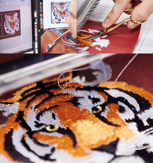 Tựa đầu hình con hổ 3D trên chiếc Ghost Mysore Motif. Ảnh: Rolls-Royce
