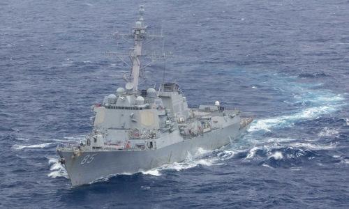 Tàu khu trục USS McCampbell trên đường tới eo biển Đài Loan. Ảnh: US Navy.