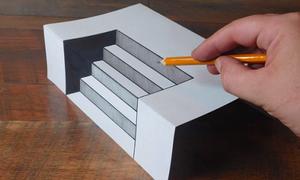 Vẽ bậc thang 3D sống động như thật