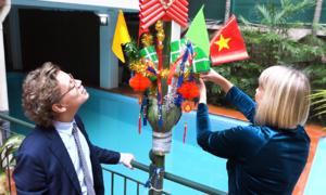 Đại sứ Thụy Điển dựng cây nêu cao 6 m trong sân nhà để đón Tết