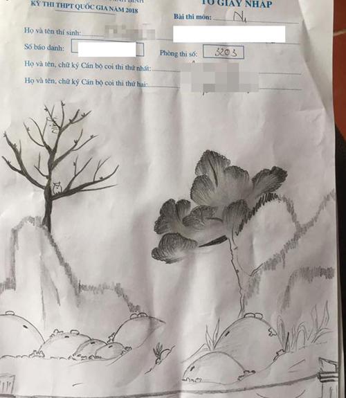 bức tranh phong thuỷ hữu tình này được tạo ra khi còn quá nhiều thời gian trong phòng thi.