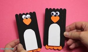 Cách làm chim cánh cụt từ que kem