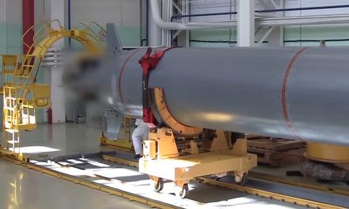 Phần đuôi ngư lôi Poseidon được Nga công bố hồi cuối năm 2018. Ảnh: Bộ Quốc phòng Nga.