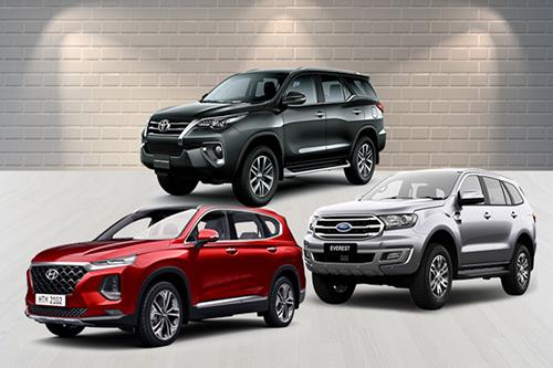 Phân khúc SUV cỡ D tại Việt Nam có nhiều lựa chọn như Toyota Fortuner, Ford Everest hay Hyundai Santa Fe. Đồ hoạ: Tạ Lư