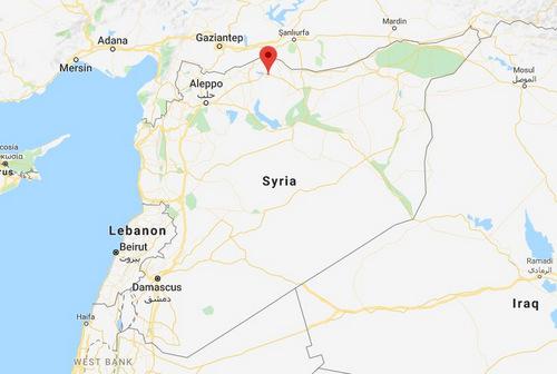 Căn cứ Sarrin nằm ở phía bắc Syria, gần biên giới Thổ Nhĩ Kỳ. Đồ họa: Google Maps.