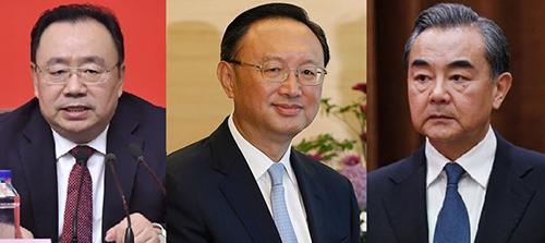 Từ trái qua phải, Qi Yu, phó bí thư đảng ủy của Bộ Ngoại giao; Dương Khiết Trì, trưởng ban Đối ngoại Trung ương  và Ngoại trưởng Vương Nghị.Ảnh: Xinhua.