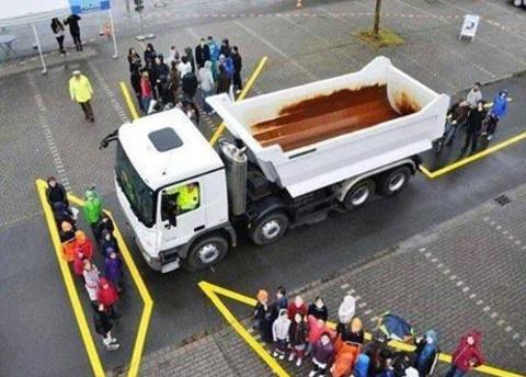 Những điểm mù xung quanh một chiếc xe tải lớn.