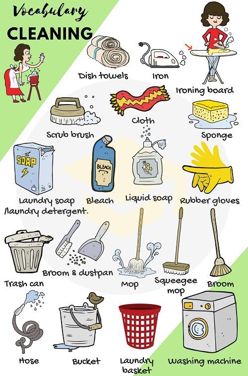 Từ vựng tiếng Anh liên quan đến dọn dẹp nhà cửa